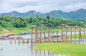 Old wooden Mon Bridge in Sangkhla Buri, Kanchanaburi Province , Thailand — Stock Photo