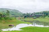 Rural life view of wooden Mon Bridge in Sangkhla Buri, Kanchanaburi Province , Thailand — Stock Photo