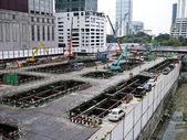 Installation av betongblock — Stockfoto