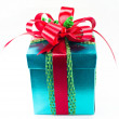 Green box red bow and ribbon — Stock Photo #36007783
