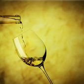 Pour the white wine concept of filling — Stock Photo
