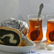 Stock Photo: Poppy seed strudel and Tea