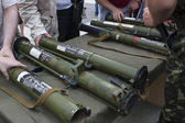 Exhibition of captured weapons seized from the separatists in Ukraine — Stock Photo