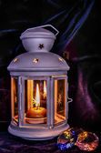 Lantern with candle and gems — Foto de Stock