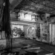 Dark abandoned scary factory room — Stock Photo