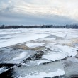 Thin ice on the lake and sunrise — Stock Photo