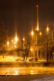 City lights at night winter — Stock Photo