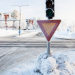 Red traffic light at winter — 图库照片
