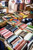 Old books at flea market — Stock Photo