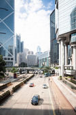 Highway and skyscrapers in hong kong — Stock Photo