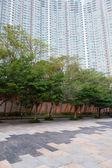 Pedestrian street and big apartment building — Foto Stock