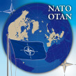 Nato otan flag and world globe — Zdjęcie stockowe