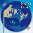 Nato otan flag and world globe — Stok fotoğraf