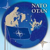 Nato otan flagi i świata świata — Zdjęcie stockowe