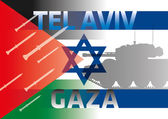 Palestine israel flags — Stock Vector