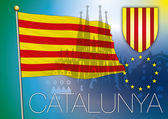 Catalonia flag and coat of arm — Stockvector