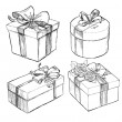 Stock Vector: Drawn Present Boxes