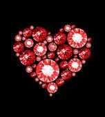 Corazón de rubí — Vector de stock