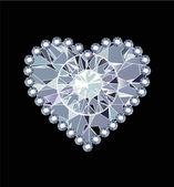 Coração de diamante — Vetorial Stock