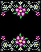 Gem Flowers Frame — Stock Vector