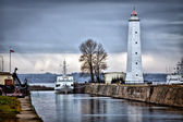The lighthouse at the Kronshtadt, Saint-Petersburg, Russia — Stock Photo