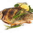 Stock Photo: Fried fish crucian, carp Isolated