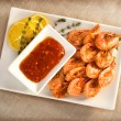Stock Photo: Fried shrimp with garlic and soy sauce