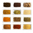 Stock Photo: Spices in ceramic bowls isolated