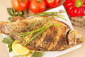 Fried fish crucian, carp — Stock Photo