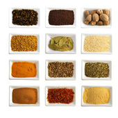 Spices in ceramic bowls isolated — Foto de Stock