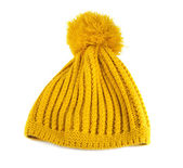 Yellow crochet knit hat isolated — Stock Photo