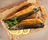 Baked mackerel on baking paper — Stock Photo