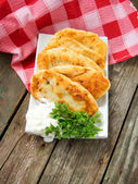 Fried patties with potatoes. Traditional Russian fastfood — Stock Photo