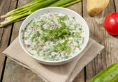 Okroshka - Russian Cold vegetable Soup — Stock Photo