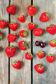 Strawberry on a wooden table — Stock Photo