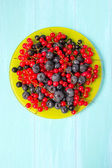 Mixed berries in the green plate — Stock Photo