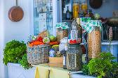 Greek pickles on the shop bench in Santorini, Greek — Stock Photo