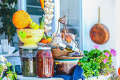Traditional Greek food on the shop bench in Santorini — Stock Photo