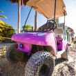 Funny pink golf car in the street on a tropical island — Stock Photo