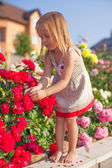 Little adorable girl sitting near colorful flowers in the garden — Stock Photo
