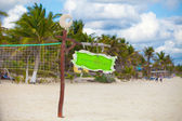 Close up basketball net at the empty tropical exotic beach — Stock Photo