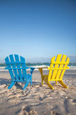 Beach wooden chairs for vacations and summer getaways in Tulum, Mexico — Stock Photo