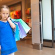 Portrait of little fashion girl holding shopping bags at the mall — Stock Photo