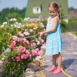 Cute girl in blue dress watering flowers with a hose in her garden — Stock Photo