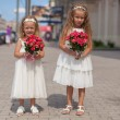 Two charming sisters with beautiful bouquets of roses in his hands go to the wedding — Stock Photo
