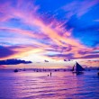 Sailing boat in awesome sunset in Boracay island on Philippines — Stock Photo