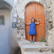 Little cute girl in medieval village of Emporio at Santorini island, Greece — Stock Photo