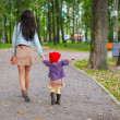 Young mother walking with her little daughter in autumn park — Stock Photo #32208375