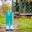 Bright mint rubber boots in the garden summer house background — Stock Photo #32209055