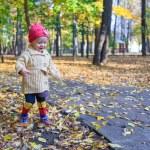 Little beautiful girl walking alone in autumn park — Stock Photo #32210557